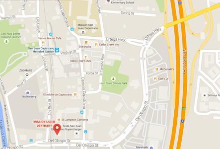 map of san juan capistrano dentist office location